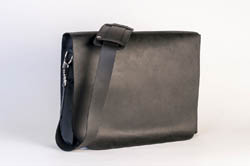 Brendan Ross, Photographer; Black Leather Messenger Bag; T Michael Collection